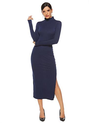 abordables Robes Femme-Femme Sophistiqué Midi Gaine Robe - Fendu, Couleur Pleine Noir Noir Vin Bleu Marine S M L Manches Longues