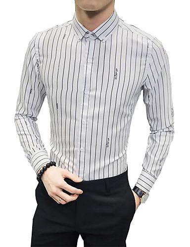 voordelige Herenoverhemden-Heren Standaard Overhemd Gestreept Wit