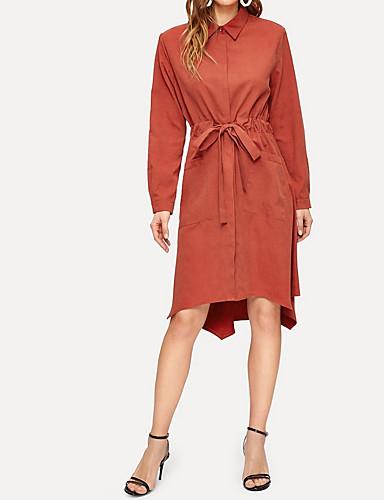 billige Kjoler-Dame Elegant Skjorte Kjole - Ensfarget Knelang