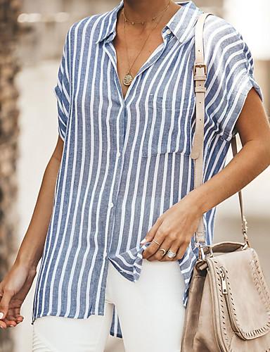 Kadın's Gömlek Çizgili Temel Beyaz