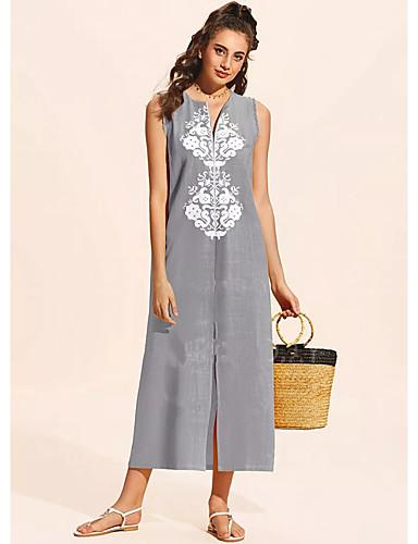 voordelige Maxi-jurken-Dames Recht Jurk - Tie Dye Maxi