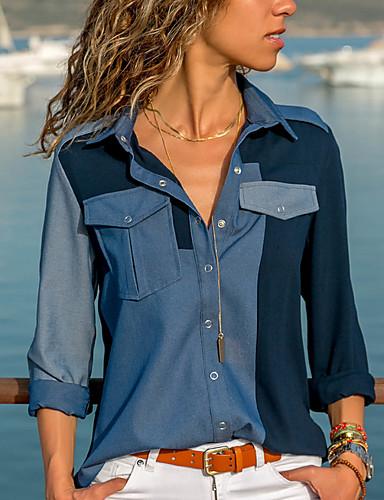 abordables Hauts pour Femme-Chemise Femme, Bloc de Couleur Imprimé Basique Bleu