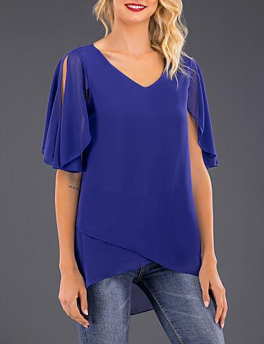 povoljno Ženske majice-Veći konfekcijski brojevi Bluza Žene - Osnovni Kauzalni Jednobojni V izrez Red