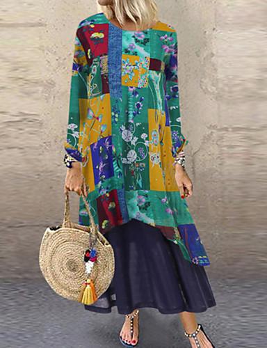 abordables Robes Femme-Femme Rétro Vintage Maxi Gaine Robe Géométrique Orange Bleu Vert L XL XXL Manches Longues