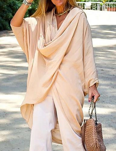 abordables Hauts pour Femmes-Tee-shirt Femme, Couleur Pleine Chic de Rue Beige