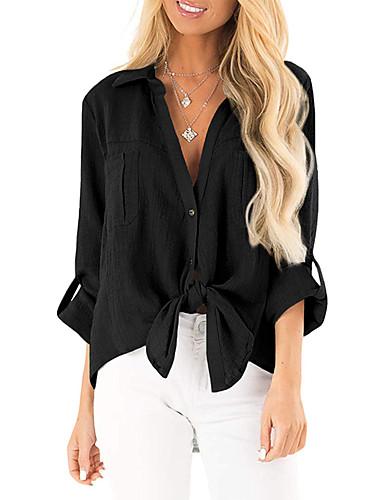 billige Dametopper-Skjorte Dame - Ensfarget, Flettet / Blondér Grunnleggende Svart / Hvit / Blå Svart