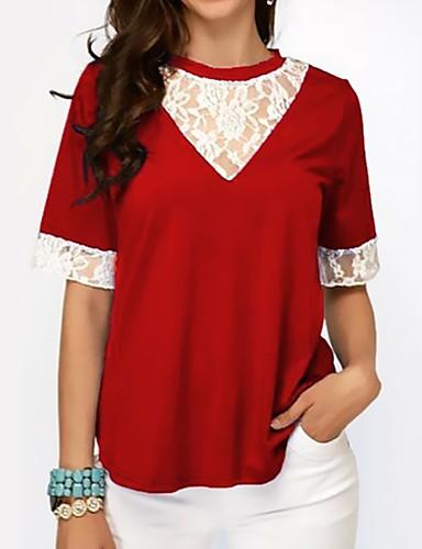 billige Dametopper-T-skjorte Dame - Ensfarget, Blonde / Lapper / Trykt mønster Grunnleggende Svart & Rød Svart