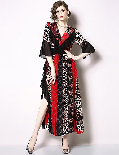 billige Kjoler-Dame Elegant Swing Kjole - Blomstret Leopard, Drapering Lapper Maksi