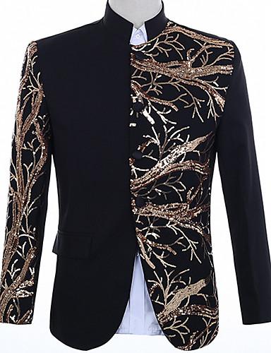 voordelige Herenblazers & kostuums-Heren Blazer, Kleurenblok Puntige revers Polyester Zwart / Rood