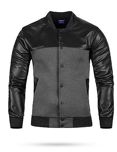 voordelige Herenjacks & jassen-Heren Dagelijks Normaal Leren jacks, Kleurenblok Opstaand Lange mouw PU Zwart / Lichtgrijs