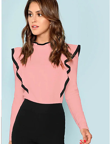 billige Topper til damer-T-skjorte Dame - Ensfarget, Drapering Grunnleggende / Elegant Rosa