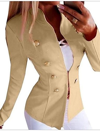 abordables Vestes & Blazers Femme-Femme Blazer, Couleur Pleine Mao Polyester Noir / Rose Claire / Vert