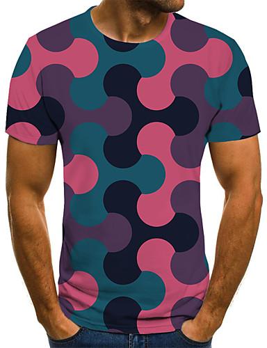 voordelige Uitverkoop-Heren Rock / Street chic Print T-shirt Kleurenblok / 3D / Grafisch Regenboog