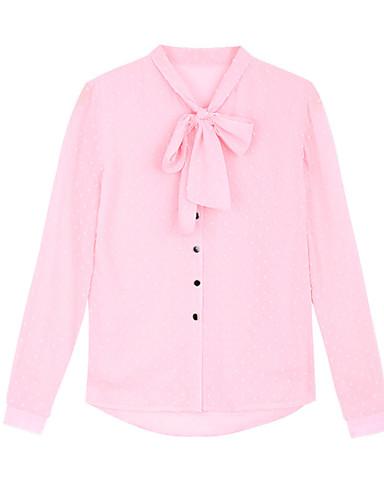 billige Dametopper-Skjorte Dame - Ensfarget, Sløyfe Svart