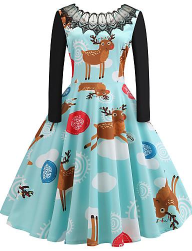 levne Dámské šaty-Dámské Vintage Elegantní A Line Šaty - Zvíře Sněhová vločka, Patchwork Midi Sněhová vločka