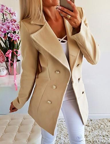 billige Blazere og jakker til damer-Dame Blazer, Ensfarget Hakkjakkeslag Polyester Hvit / Gul / Grå