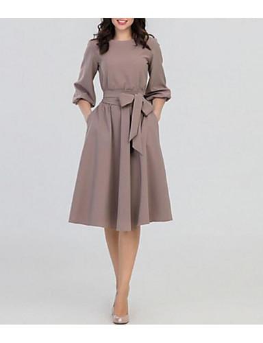billige Kjoler-Dame Gatemote Elegant A-linje Kjole - Ensfarget, Flettet Knelang