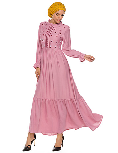 voordelige Maxi-jurken-Dames Street chic Elegant Schede Kaftan Jurk - Effen, Patchwork Geborduurd Maxi