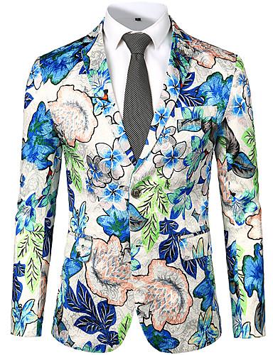 voordelige Herenmode-Heren Blazer, Bloemen V-hals Polyester Wit / Rood / Klaver