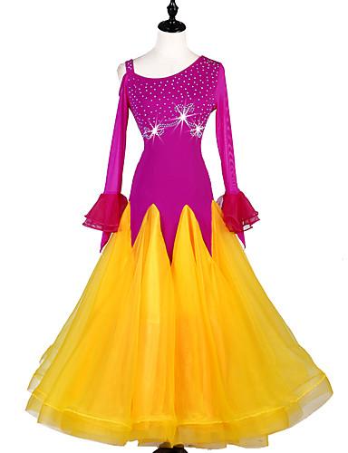 voordelige Shall We®-Ballroomdansen Jurken Dames Prestatie Spandex / Organza Kristallen / Bergkristallen Lange mouw Kleding
