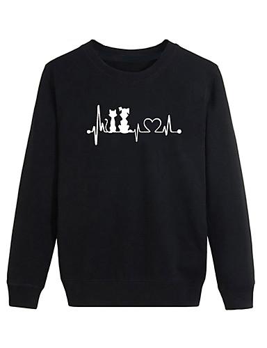 abordables Hauts pour Femmes-Homme / Femme Simple / Basique Sweatshirt Couleur Pleine / Lettre