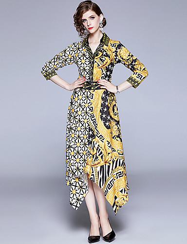 abordables Robes Femme-Femme Rétro Vintage Elégant Midi Trapèze Robe - Imprimé, Points Polka Géométrique Jaune M L XL Manches Longues