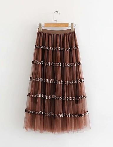 abordables Jupes-Femme Trapèze Jupes - Couleur Pleine Bloc de Couleur Noir Rose Claire Marron Taille unique
