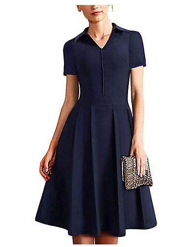 billige Kjoler-Dame Grunnleggende Elegant A-linje Kjole - Ensfarget Knelang
