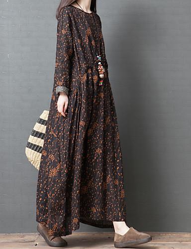 voordelige Maxi-jurken-Dames Verfijnd Recht Jurk - Bloemen, Geplooid Midi