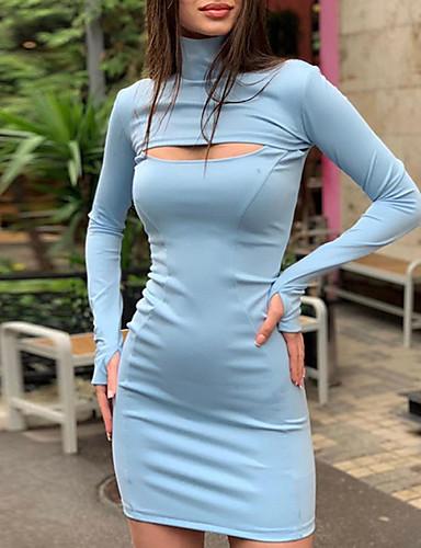 billige Kjoler-Dame Basale Bodycon Skede Kjole - Ensfarvet Mini