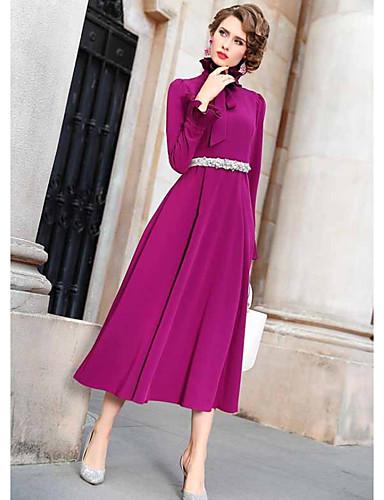 abordables Robes Femme-Femme Elégant Midi Trapèze Robe - A Volants, Couleur Pleine Fuchsia S M L Manches Longues
