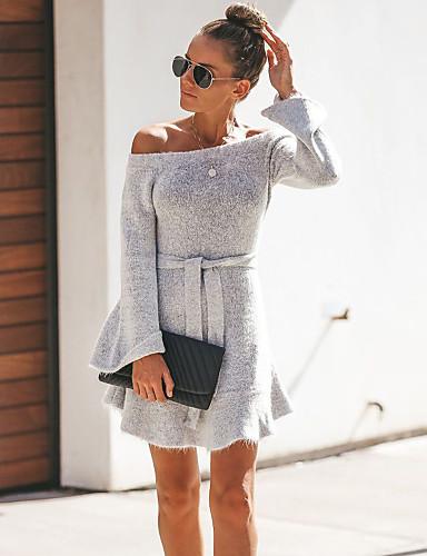 abordables Robes Femme-Femme Basique Mini Trapèze Robe - A Volants Lacet, Couleur Pleine Vin Gris S M L Manches Longues