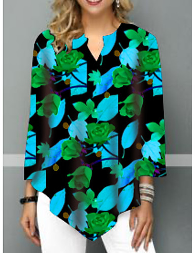 billige Topper til damer-T-skjorte Dame - Blomstret Gul