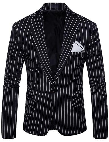 voordelige Herenblazers & kostuums-Heren Blazer, Gestreept Opstaand Polyester Zwart / Grijs