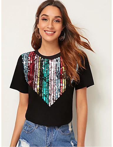 billige Topper til damer-T-skjorte Dame - Regnbue, Netting / Lapper Grunnleggende Svart / Rød Svart