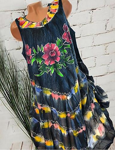 voordelige Maxi-jurken-Dames Boho Wijd uitlopend Jurk - Geometrisch Maxi