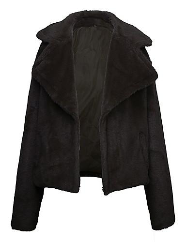 billige Brudesjaler-Dame Daglig Normal Faux Fur Coat, Ensfarget Hakkjakkeslag Langermet Fuskepels Vin / Lysebrun / Militærgrønn