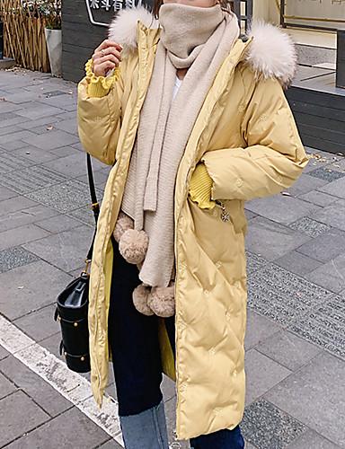 voordelige Dames donsjassen & parka's-Dames Kleurenblok Lang Dons, Nylon Zwart / Wit / Blozend Roze S / M / L