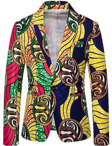 voordelige Herenblazers & kostuums-Heren Pakken, Geometrisch Ingesneden revers Polyester Geel