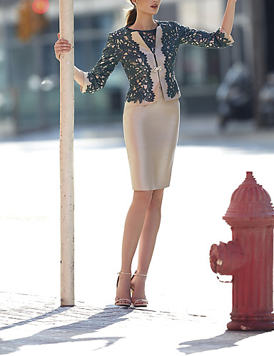 abordables Robes Femme-Femme Elégant Au dessus du genou Deux Pièces Robe - Dentelle, Géométrique Kaki M L XL Demi Manches