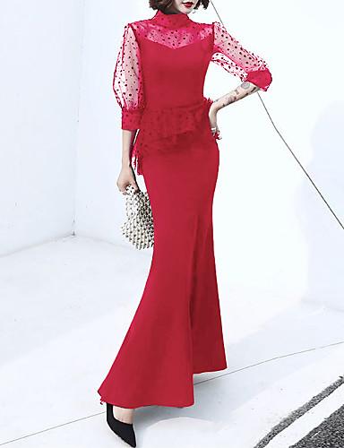 voordelige Maxi-jurken-Dames Elegant Trompet / zeemeermin Jurk - Polka dot, Ruche Split Patchwork Maxi