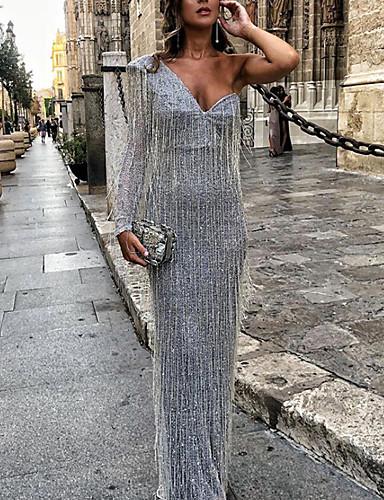 abordables Robes Femme-Femme Maxi Gaine Robe Couleur Pleine Gris S M L Manches Courtes