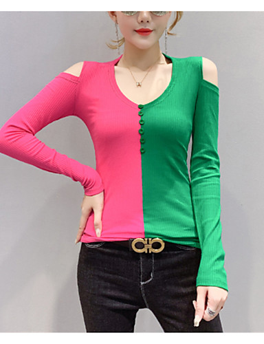 povoljno Ženske majice-Žene Color block Dugih rukava Pullover, Duboki V Jesen / Zima Fuksija / žuta S / M / L