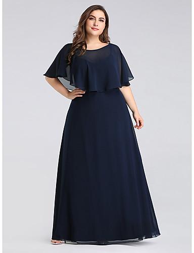 voordelige Wrap Dresses-A-lijn Met sieraad Tot de grond Chiffon Bruidsmoederjurken met Geplooid door LAN TING Express