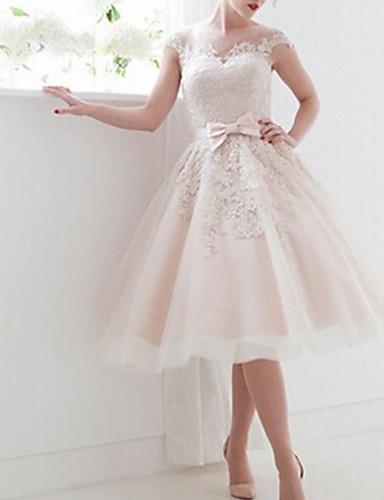 billige Bryllupskjoler 2019-A-linje Bateau Neck Telang Blonder Made-To-Measure Brudekjoler med Sløyfe(r) av LAN TING Express