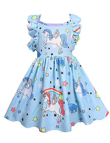 billige Unicorn Dresses-Barn Jente Aktiv Unicorn Ensfarget Geometrisk Ermeløs Kjole Rosa
