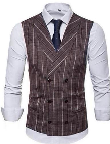 voordelige Herenblazers & kostuums-Heren Vest, Effen / Gestreept V-hals / Overhemdkraag Rayon / Nylon / Spandex Bruin / Marineblauw / Grijs