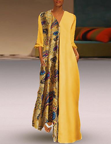 abordables Robes Femme-Femme Rétro Vintage Maxi Courte Robe - Mosaïque, Géométrique Jaune S M L Manches Longues