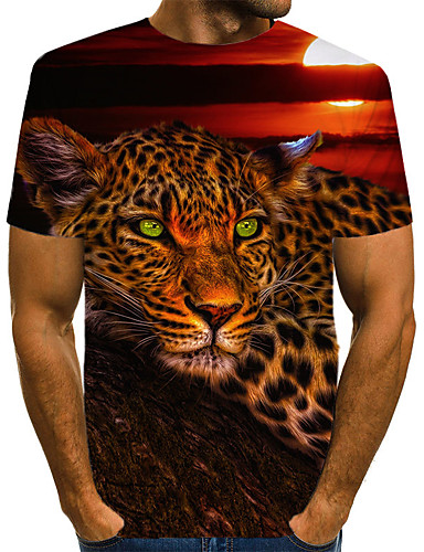 voordelige Heren T-shirts & tanktops-Heren Vintage / Rock Print T-shirt Luipaard / 3D / dier Wolf Regenboog