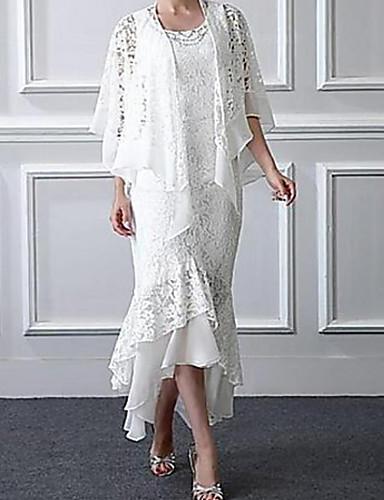 voordelige Wrap Dresses-A-lijn / Tweedelig Met sieraad Asymmetrisch Kant Bruidsmoederjurken met Appliqués door LAN TING Express / Wrap inbegrepen